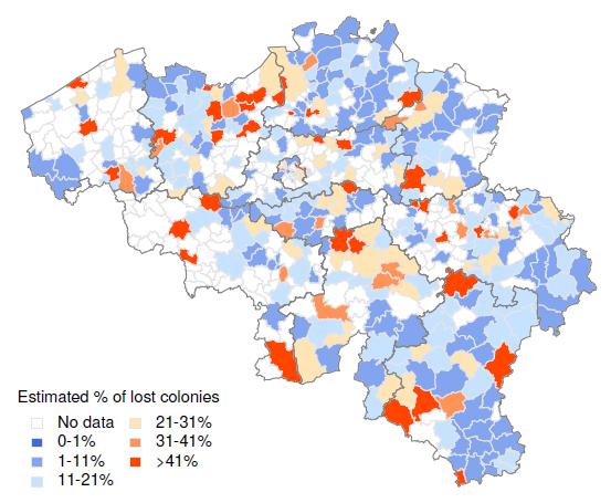 Belgie wintersterfte per gemeente