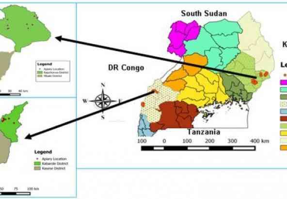 De 2 bestudeerde agro-ecologische zones in Uganda